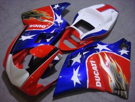 748 / 998 / 996 Injection ABS Fairing For Ducati - Flame - Red/White/Blue