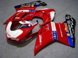 848 / 1098 / 1198 2007-2009 Injection ABS Fairing For Ducati - INFO STRADA - White/Red/Black