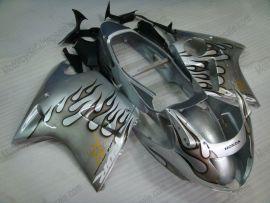 CBR 1100XX 1996-2007 Injection ABS Fairing For Honda BLACKBIRD - Black Flame - Silver
