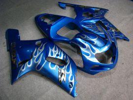 GSX-R 1000 2000-2002 K1 K2 Injection ABS Fairing For Suzuki - White Flame - Blue