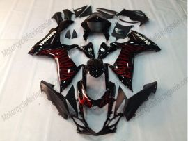 GSX-R 600/750 2011-2015 Injection ABS Fairing For Suzuki - Red Flame - Black
