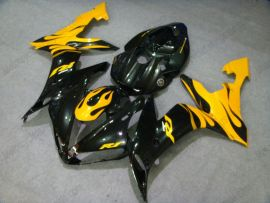 YZF-R1 2004-2006 Injection ABS Fairing For Yamaha - Black Flame - Black/Yellow