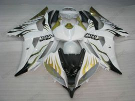 YZF-R6 2008-2014 Injection ABS Fairing For Yamaha - Golden Flame - White