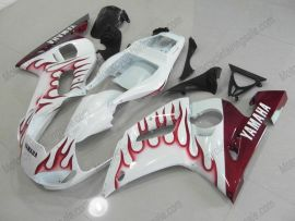 YZF-R6 1998-2002 Injection ABS Fairing For Yamaha - Flame - White/maroon