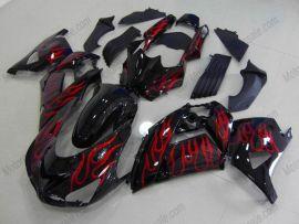 NINJA ZX14R 2006-2011 ABS Fairing For Kawasaki  - Flame - Black/Red