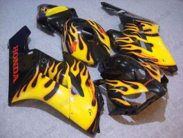 CBR1000RR 2004-2005 Injection ABS Fairing For Honda - Yellow Flame - Black