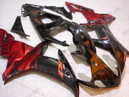 YZF-R1 2002-2003 Injection ABS Fairing - Black Flame For Yamaha - Black/Red